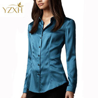 S-XXXL women Fashion silk satin blouse button ladies silk blouse shirt casual office White Black Blue long sleeve satin top 8014