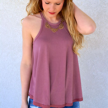 High Neck Keyhole Back Top: Dark Rose