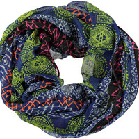 D&Y Blue Geometric Shapes Infinity Scarf