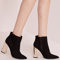 Missguided - gold plated block heel ankle boots black