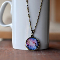 Purple Galaxy Necklace, Univers Jewelry, Nebula Necklace, Resin Jewelry