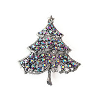 Weiss Rhinestone Christmas Tree Brooch - Aurora Borealis, Silver Tone, Christmas Jewelry, Holiday Jewelry, Weiss Brooch, Vintage Brooch