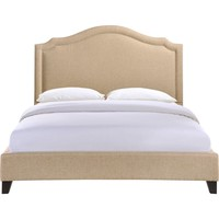 Charlotte Queen Bed Frame Beige Fabric