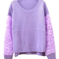 Sweet Style Stereoscopic Rose Sleeves Knitwear