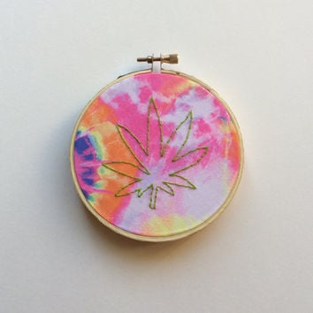 Pot Leaf Tie Dyed Embroidery