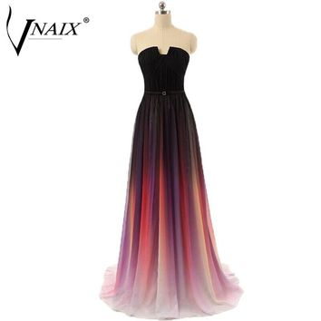 Evening Dresses Vnaix E1088 Real Photo Strapless Pleated Gradient Ombre Long Chiffon vestido de festa longo Party Prom Dress