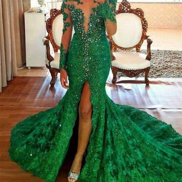 Robe de Soiree 2017 Sexy High Split Emerald Beading Evening Dresses Long Sleeves Vestido de Fiesta 2017 Lace Prom Gown Customize