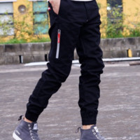 Supreme Trousers men 's casual pants reflective pants men trousers jogging pants Black