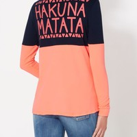 Hakuna Matata Brushed Drop Yoke Top | Graphic Long Sleeve Tees | rue21