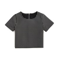 AQUA Girls' Windowpane Plaid Top - Sizes S-XL | Bloomingdales's
