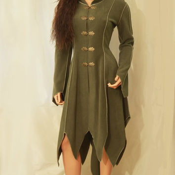 Made to Order: Clasped Long Pointy Hem Fairy Elven Tauriel Fleece Spring Coat with Hood Pixie Hood and Pipings, Custom size and color