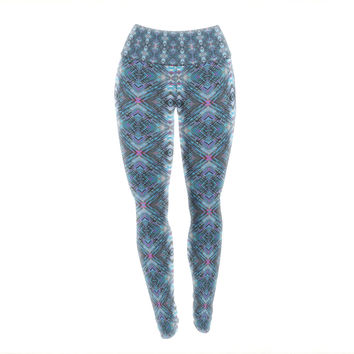 "Danii Pollehn ""Native Pattern"" Blue Geometric Yoga Leggings"