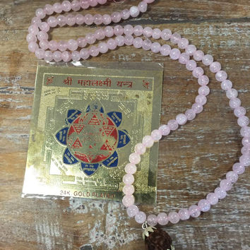 Spritual Wealth Shree Lakshmi Yantra with Rose Quartz Love Mala Beads