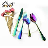 4 Pcs Stainless Steel Colorful Cutlery Set Rainbow Gold Plated Dinnerware Creative Dinner Set Fork Knife for Wedding and Hotel