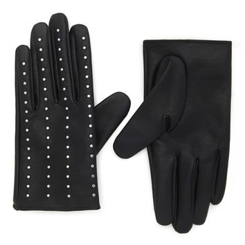 Studded Faux Leather Gloves