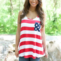 Striped Sleeveless Tank with Single Polka Pocket