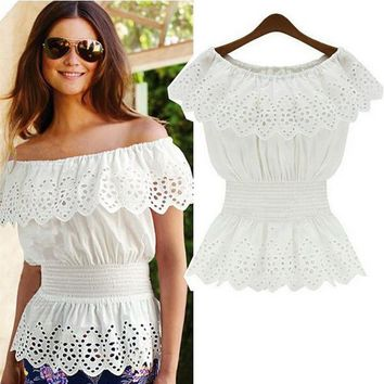2017 Summer Women Sexy Slash Neck Blouse Top Casual Strap Off Shoulder Lace Ruffles Elastic Waist Tunic Shirts Blusas Femininas