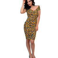 1950s Style Black & Yellow Leopard Textured Stretch Wiggle Dress