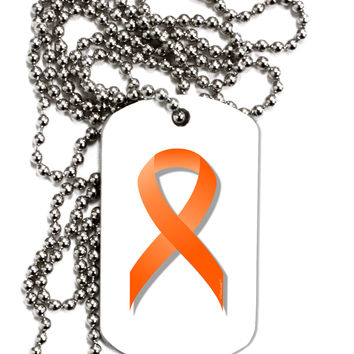 Leukemia Awareness Ribbon - Orange Adult Dog Tag Chain Necklace