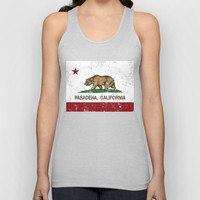 Pasadena California Republic Flag Distressed Unisex Tank Top by NorCal