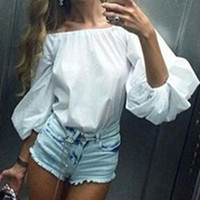 NEW Ladies Off the Shoulder Puff Sleeve Top/Blouse White or Pink O/S