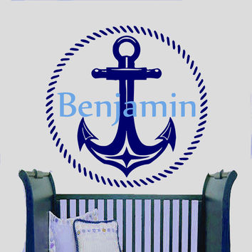 Wall Decals Personalized Name Vinyl Stickers Anchor Boy Nautical Nursery LM114