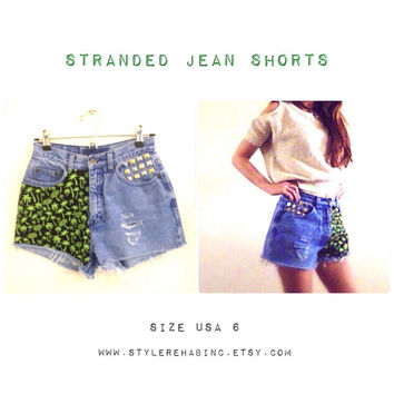 Stranded Jean Shorts. Palm Tree highwasted Festival Shorts. Green and black. Vintage 80's shorts.