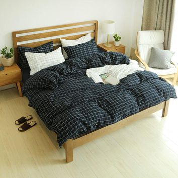 Bedroom Hot Deal On Sale Cotton Plaid Bedding Rinsed Denim Bedding Set [45990019097]
