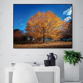 Wall art canvas painting the beautiful tree posters and prints landscape home decoration painting art print on canvas No Frame