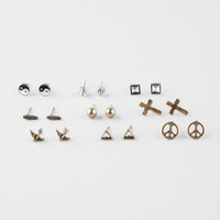 Full Tilt 9 Piece Yin Yang/Cross/Triangle Earrings Metal One Size For Women 26585390101