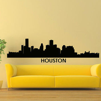 WALL DECAL VINYL STICKER HOUSTON SKYLINE CITY SILHOUETTE DECOR SB85