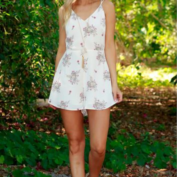 Willow Whispers Print Romper Cream