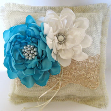 Ring Bearer Pillow Ivory Burlap and Champaign Lace with  Tiffany Blue Satin and Ivory Flowers and  Pearl and Rhinestone Accents Custom Order