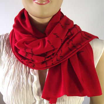 JANE AUSTEN Book Quotes Scarf Pride and Prejudice and more Quotes Raw Edge Jersey Text Scarf RED Literary Scarf Book Lovers Gift More Colors