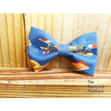 Bow Tie Collar Slide,  neckwear and bowtie, blue bowtie, bowtie for dog, bow tie for pets, planes bowtie collar slider, planes dog bowtie