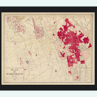 Old Map of Marrakesh Morocco 1924 Vintage Map - VINTAGE MAPS AND PRINTS