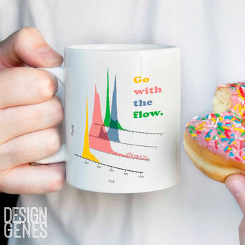 "Flow cytometry mug, ""Go with the flow"" lab tech gift"