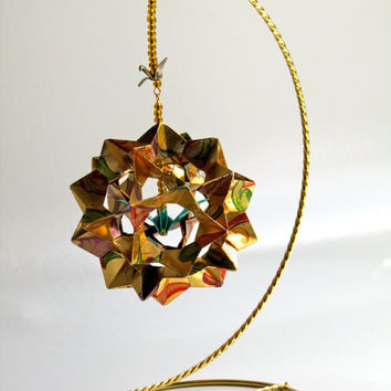 Ornament Décor 3D Modular Origami Handmade in Gold Metallic With Printed Flowers in Red & Green, on Ornament Stand One Of A Kind