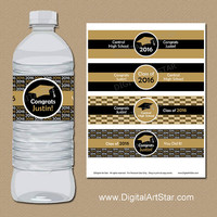 High School Graduation Party Decorations - Printable Graduation Water Bottle Labels - Personalized Graduation Party Supplies Black and Gold