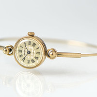 Gold Plated Women's Watch, Seagull Round Women's Watch, Party Watch Tiny, Gold Dial Watch, Bracelet Watch Ornamented