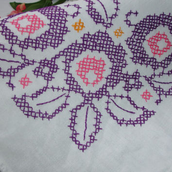 "Embroidered Cross Stitched table cover, Purple and pink, hand made, Table cover, Embroidery, cottage chic decor, 33x37"", Country decor"