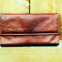 vintage brown leather Amity wallet. aztec design. womens wallet