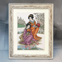 Beautiful Japanese women completed cross stitch hand embroidery embroidered painting framed