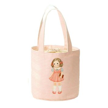 Newest 2016 Little Girl Pattern Thermal Cooler Insulated Bento Pouch Lunch Bags Portable Organizer Lunch Storage