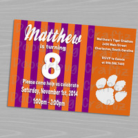 Clemson University Tigers Birthday Party Invitations! Custom Personalized 24hr turn around. Choose Your Size 4x6 or 5x7