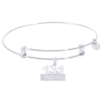 Sterling Silver Confident Bangle Bracelet With Marathon 13.1 W/Diamond Charm