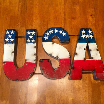 USA Recycled Metal Sign 11x21x2