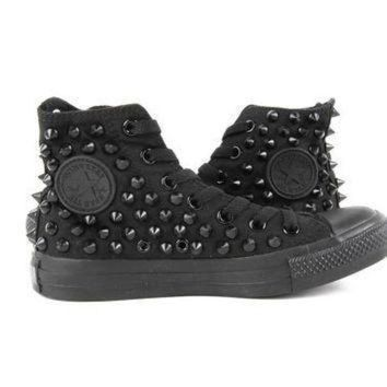 QIYIF original converse allstar chuck taylor high top studded converse stud black spike on
