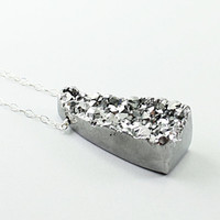 Druzy necklace - silver titanium drusy agate necklace, sterling silver handmade jewelry sparkly gift for girlfriend gray grey