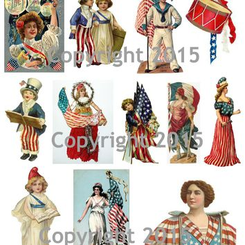 Printable Vintage Patriotic 4th of July Cards Collage Sheet #3   To Download
